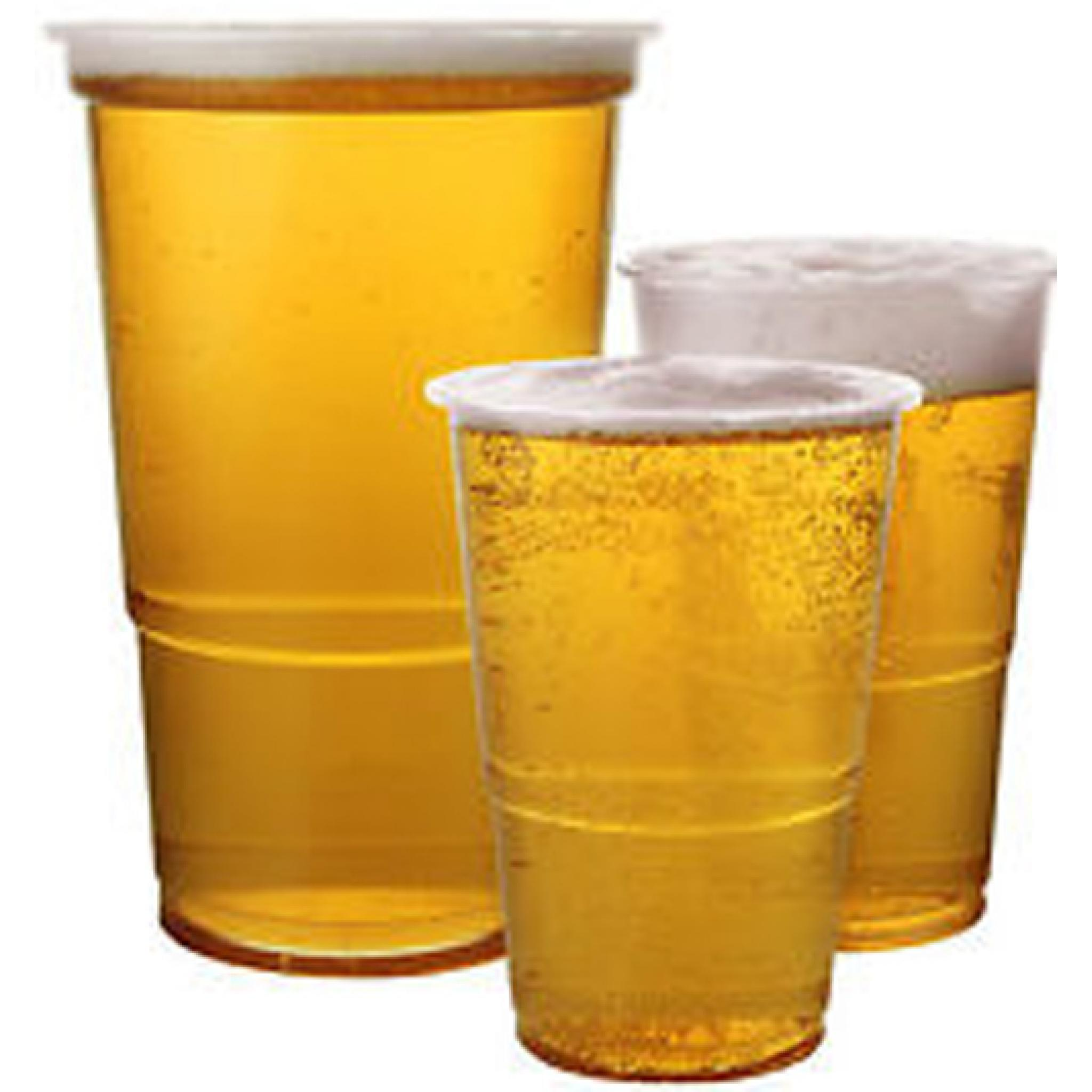 clear pint 20oz strong plastic beer cups glasses disposable flexible