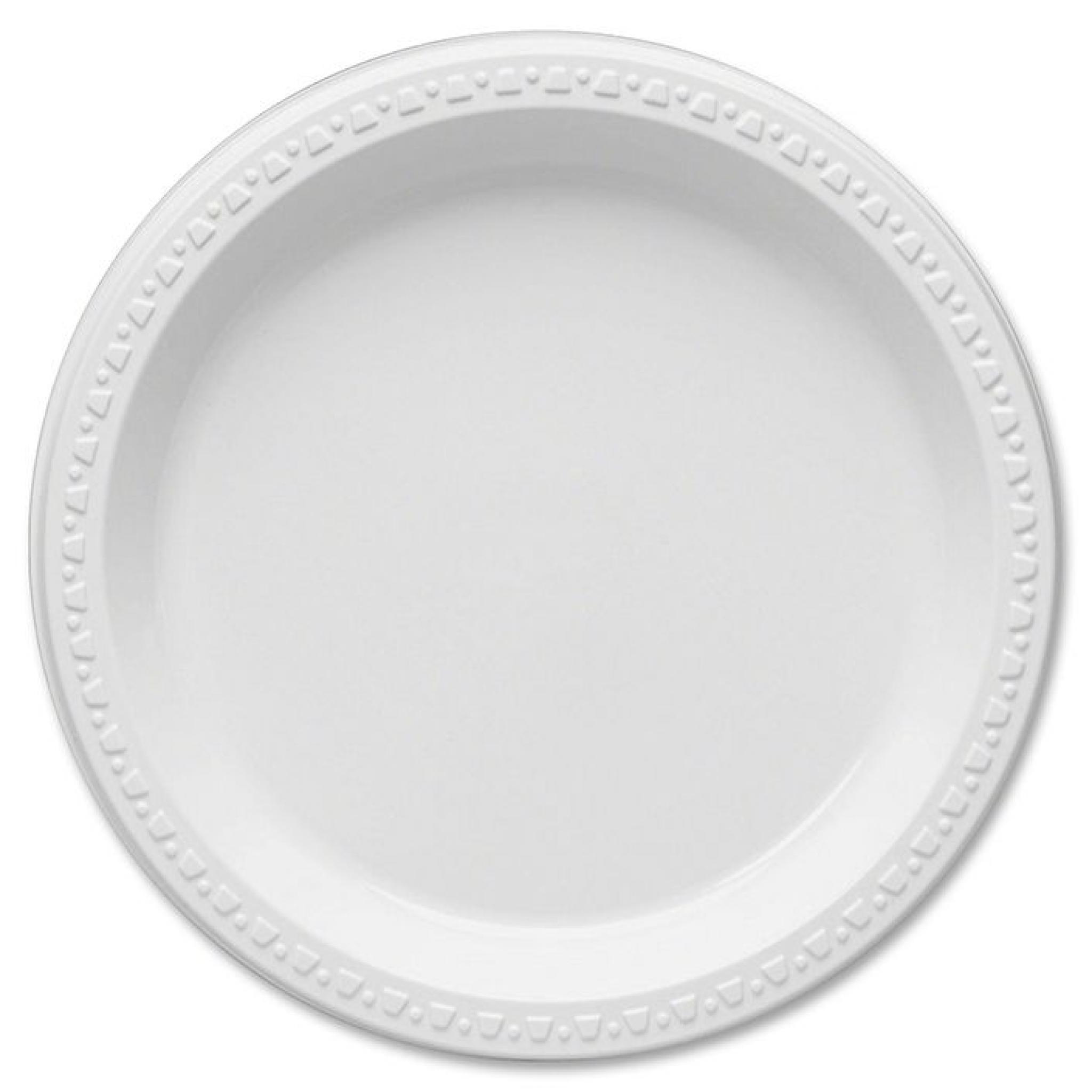 """10 White Round 10/"""" Salad Plates Gold Trim Wedding Catering Disposable Supplies"""