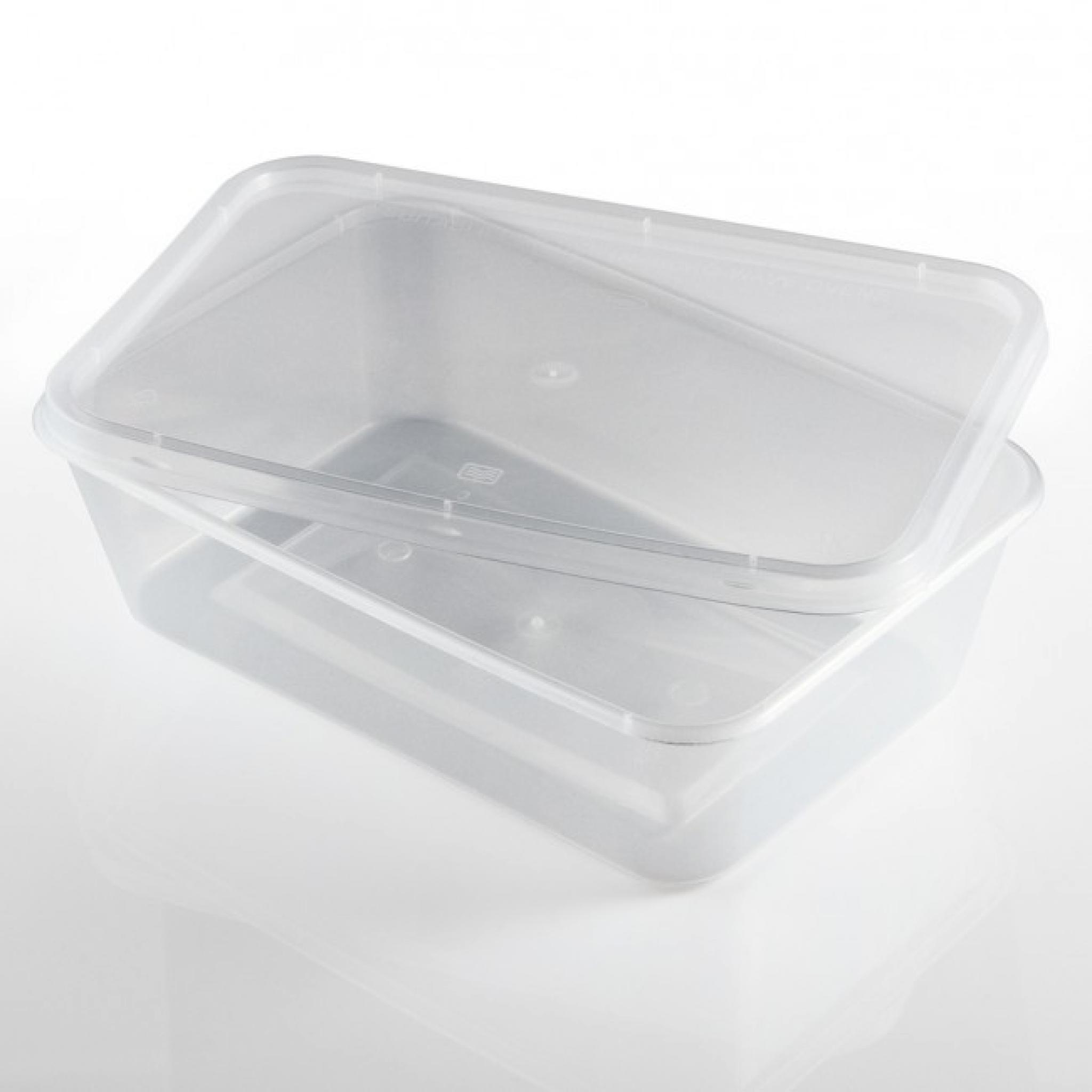 Rectangular 500ml Microwave Clear Plastic Food Containers For Freezing Takeaway Hot Cold Foods 500cc