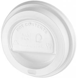 White Sip-Though Lids Fits 10oz 12oz 16oz 20oz Paper Cups Disposable