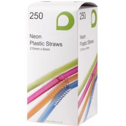 "Neon 8"" Long Jumbo Flexi Bendy Drinking Straws 210mm x 6mm"