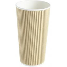 20oz Brown Paper Coffee Cups Kraft Ripple 3 Ply Insulated For Tea Espresso Hot Drinks