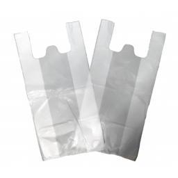 """Large White Vest Plastic Carrier Bags 11""""x17""""x21"""" - Leopard"""