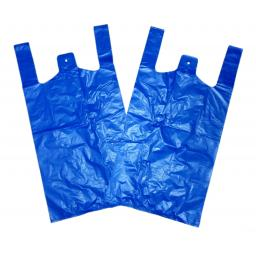"Large Blue Recycled Vest Plastic Carrier Bags 11""x17""x21"" - 20 Micron BR3"