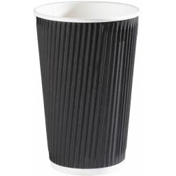 16oz Black Paper Coffee Cups Kraft Ripple 3 Ply Insulated For Tea Espresso Hot Drinks