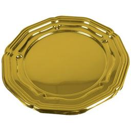"Sabert Gold Plastic Round Small Platters Serving Trays 34cm / 13.5"" - 5 Pack"