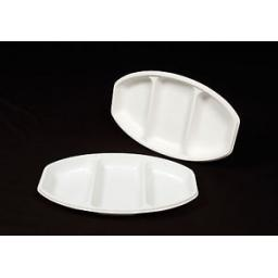3 Section Oval White Strong Plastic Serving Platters Disposable For Starters Buffets Dinner Hot & Cold Food