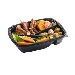 Sabert Fastpac 3 Compartment Rectangular 900ml Black Microwaveable Containers - Takeaway Hot Cold Foods (HOT78330)