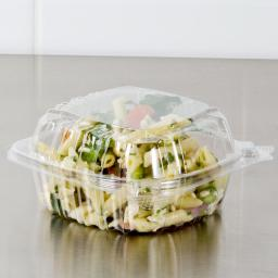 Dart Solo 750cc Clear Shallow Plastic Salad Container C57PST1 with Clear Seal Hinged Lid