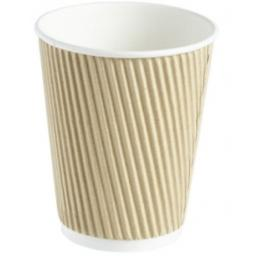 8oz Brown Paper Coffee Cups Kraft Ripple 3 Ply Insulated For Tea Espresso Hot Drinks