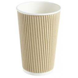 16oz Brown Paper Coffee Cups Kraft Ripple 3 Ply Insulated For Tea Espresso Hot Drinks