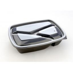 Sabert Fastpac 3 Compartment LIDS Clear Rectangular Microwaveable - Takeaway Hot Cold Foods (HOT52873)