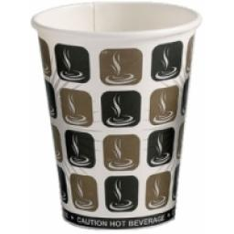 12oz Mocha Cafe Coffee Cups Paper Single Wall Disposable Tea Cappuccino Hot Drinks