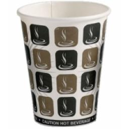 10oz Mocha Cafe Coffee Cups Paper Single Wall Disposable Tea Cappuccino Hot Drinks
