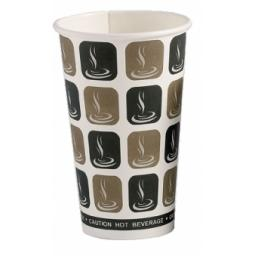 16oz Mocha Cafe Coffee Cups Paper Single Wall Disposable Tea Cappuccino Hot Drinks