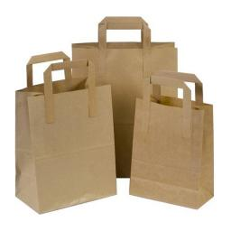 250 x Brown Medium SOS Kraft Paper Bags Tape Handle Carrier Takeaways
