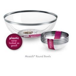 Mozaik Sabert Clear Plastic Bowls Silver Rim 14cm Side Dessert