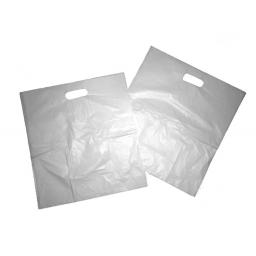 "B2 White Patch Handle Plastic Carrier Bags 12""x12""x4"" - B2"