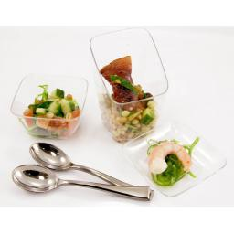 "MINI 2.5"" Clear Mozaik 6.5cm Tasting Appetiser Plates - Strong Reusable Hard Plastic"