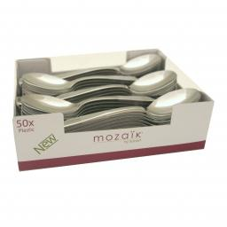 Sabert Mozaik 16cm Plastic Silver Dinner Spoons Metallised Reusable Disposable Cutlery