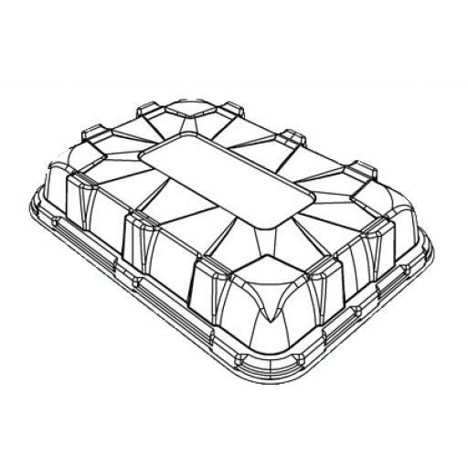 Sabert Medium Lids For Black Plastic Rectangle Serving Buffet Platters - 46x30cm