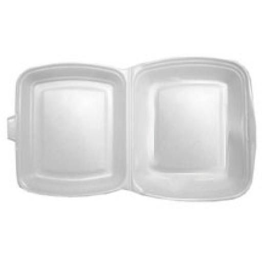 """FP1 White 10"""" Meal Box 1 Section Foam Polystyrene Containers HP4"""