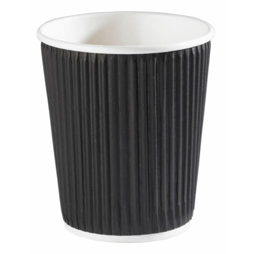 8oz Black Paper Coffee Cups Kraft Ripple 3 Ply Insulated For Tea Espresso Hot Drinks
