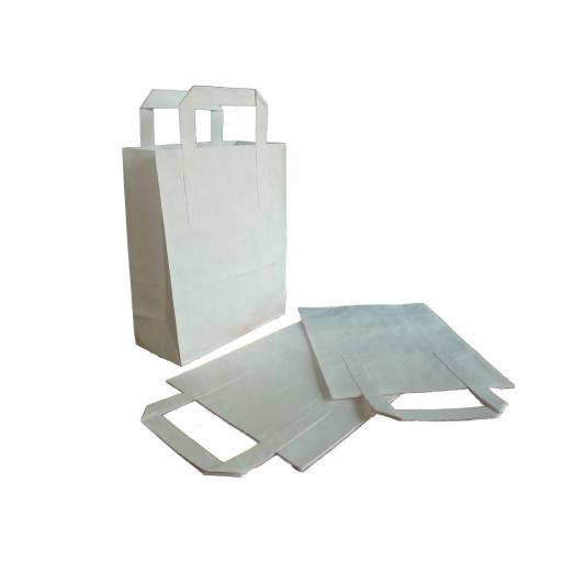250 x White Medium SOS Paper Bags Tape Handle Carrier Takeaways