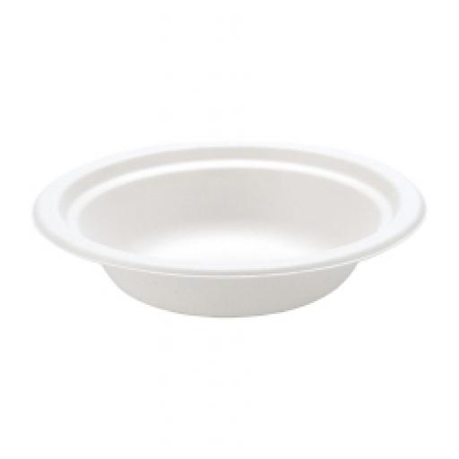 16oz Round White Paper Bowls Biodegradable Bagasse Sugarcane Strong Disposable