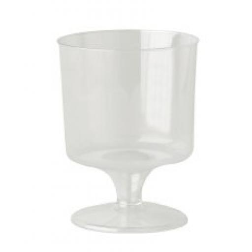 Clear Plastic Stemmed 6oz 170ml Wine Glass Cups Disposable 6 Pack