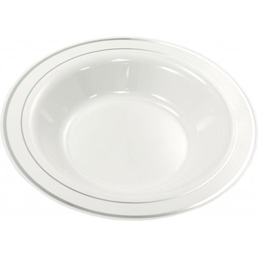 "Mozaik Deep Plastic Bowls White With Silver Rim 9"" 23cm For Pasta Soup"