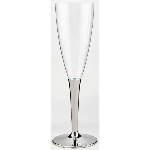 100ml Sabert Mozaik Silver Stem Clear Plastic Champagne Flutes Cups Glasses - Disposable Reusable