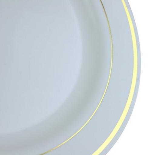 """White Gold Rim 9"""" Mozaik Strong Reusable Hard Plastic Dinner Plates 23cm"""