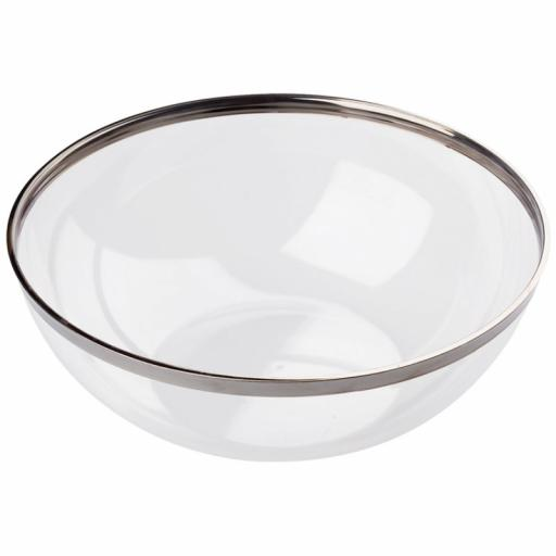 Mozaik Sabert Clear Plastic 20cm 1.5L Serving Bowls with Silver Rim