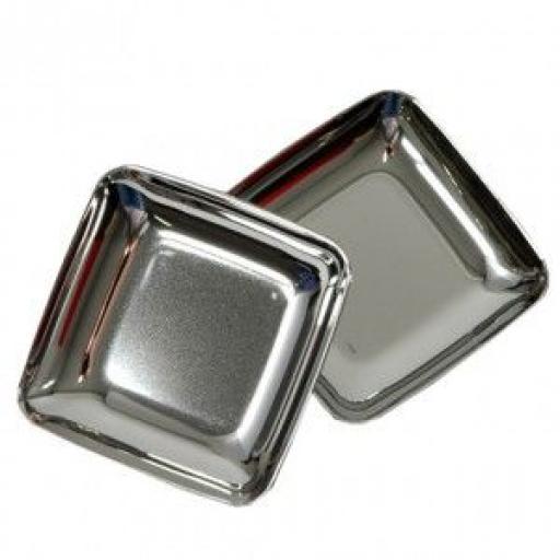 """MINI 2.5"""" Silver Mozaik 6.5cm Tasting Appetiser Plates - Strong Reusable Hard Plastic"""