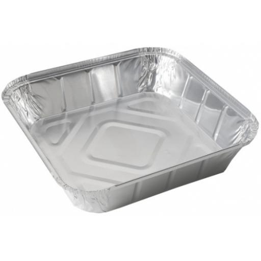 Foil Containers No 9 Deep Square Aluminium - Hot Cold Food Takeaways