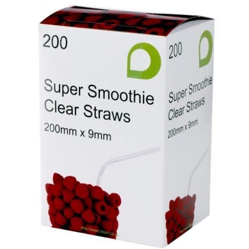 Clear Smoothie Long Jumbo Drinking Straws 200mm x 9mm, Slushies, Milkshakes and Fruity Cocktails
