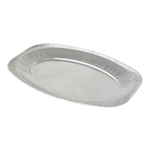 "17"" Plain Oval Foil Disposable Serving Platters Tray 43cm"