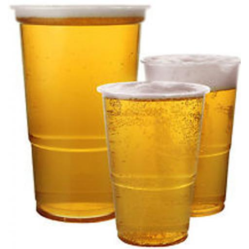 Clear Pint 20oz Strong Plastic Beer Cups Glasses Disposable Flexible  Tumblers CE Marked
