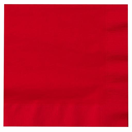 Red Paper Napkins 2 Ply 33cm 4 Fold Tissue Serviettes