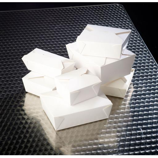 No6A White 25oz Square Paper Food Containers - Hot Rice Curry Takeaway Boxes