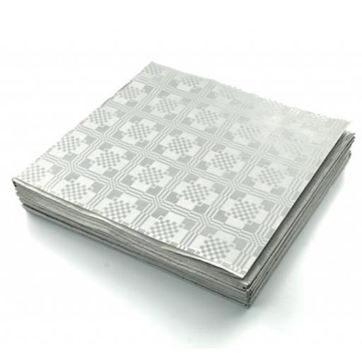 Silver Disposable Paper Table Cover Cloth 90x88cm - 25 Sheets