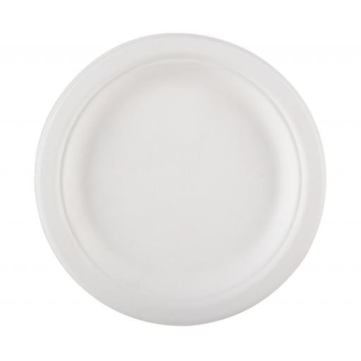 "Round 9"" Strong White Paper Plates Biodegradable Bagasse Disposable - 225cm"
