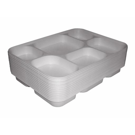 "6 Section Compartment MINI Punjabi White Plastic Disposable Thali Food Trays 10"" x 8"" - Dinner Plates For Indian Events"