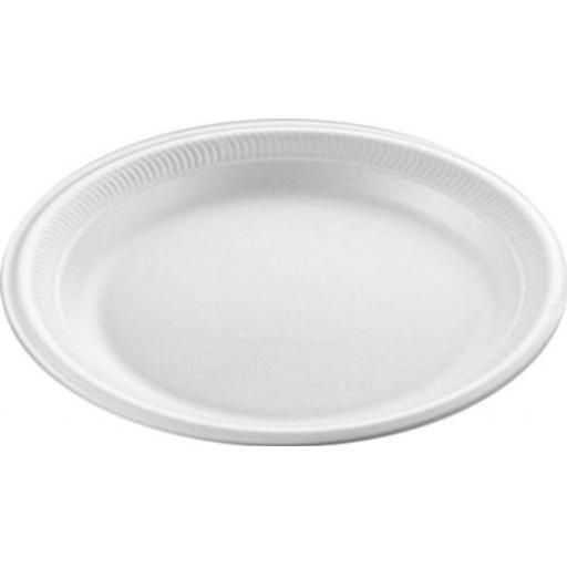 "Linpac White 9"" Disposable Foam Polystyrene Starter Side Plate - 229mm - TP3"