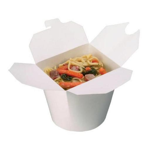 White 26oz Round Paper Oriental Noodle Pots Containers - Rice Curry Takeaway Food Pails Boxes