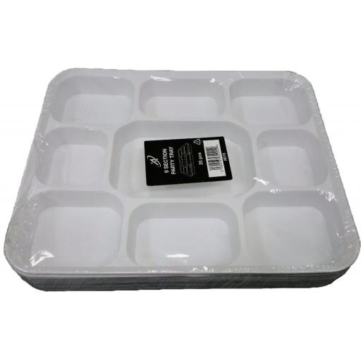 "9 Section Compartment Gujarati White Plastic Disposable Thali Food Trays 12.5"" x 10"" - Dinner Plates For Indian Events"