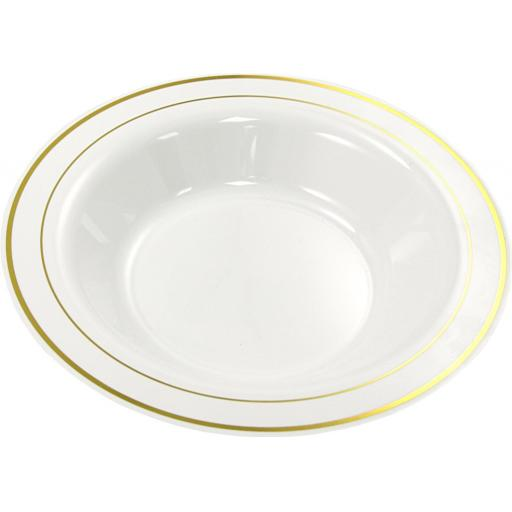"Mozaik Deep Plastic Bowls White With Gold Rim 9"" 23cm Plates For Pasta Soup"