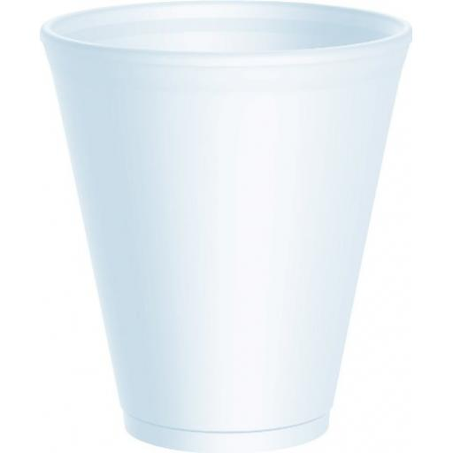 Dart 12oz Strong Foam Polystyrene Cups Disposable for Hot / Cold Drinks Tea Coffee - 12X12