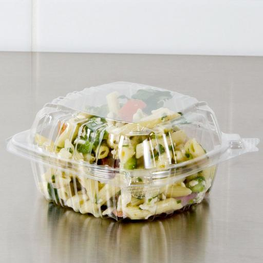 Dart Solo 500cc Clear Shallow Plastic Salad Container C53PST1 with Clear Seal Hinged Lid